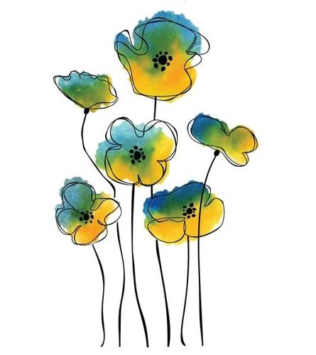 Cling Set - Sketch Poppies