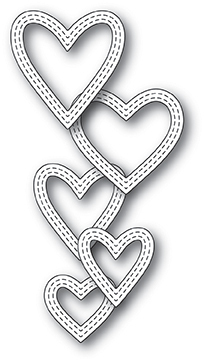Stanzschablone Classic Double Stitched Heart Rings