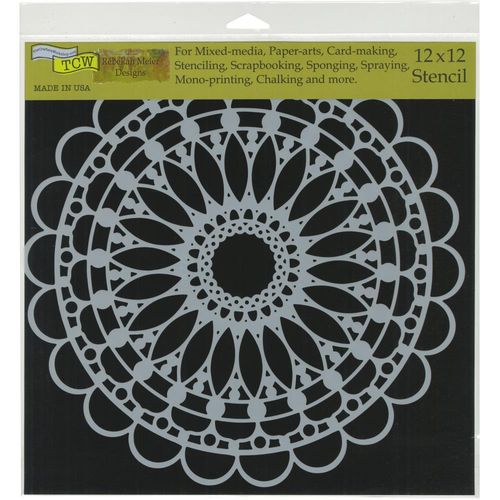 "Schablone Scalloped Mandala 12""x12"""