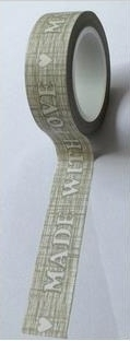 Washi Tape - Made with Love grau
