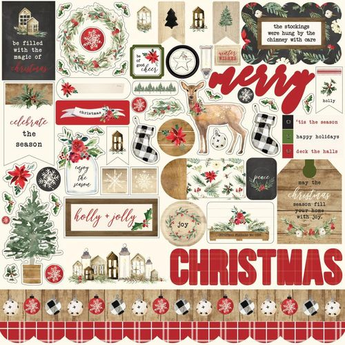 "Christmas Cardstock Stickers 12""X12"" - Elements"