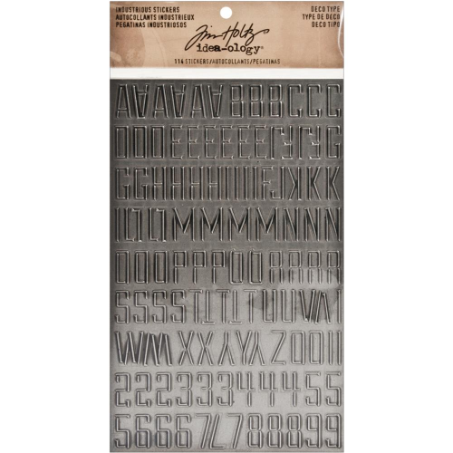 Tim Holtz Industrious Stickers - Metallic Deco Type