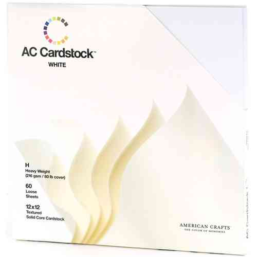 "American Crafts Cardstock Pack 12""X12"" - Textured White"