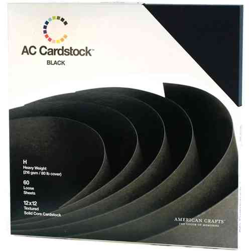 "American Crafts Cardstock Pack 12""X12"" - Textured Black"