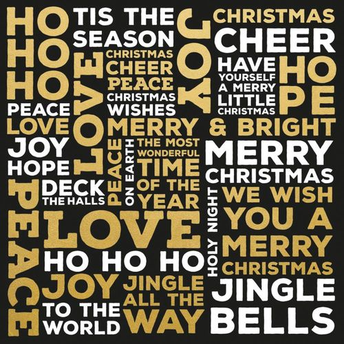 "Touch of Gold Foiled Cardstock 12""X12"" - Christmas Words"