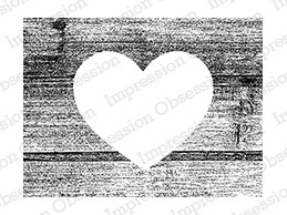 Cling - Wood Heart Rectangle