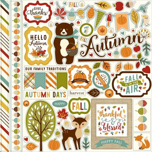 "Fall Is In The Air Element Cardstock Stickers 12""X12"""