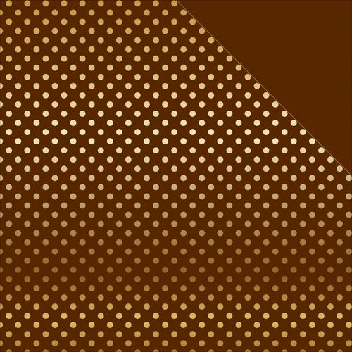 Foiled Dots & Stripes Cardstock - Brown/Gold