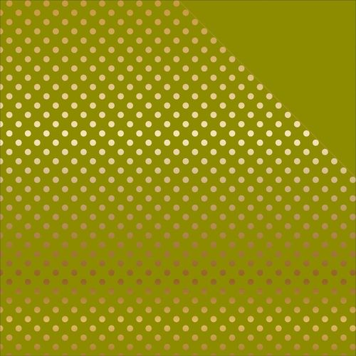 Foiled Dots & Stripes Cardstock - Green/Gold