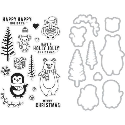 Clear Stamp & Die Combo - Holiday Animals