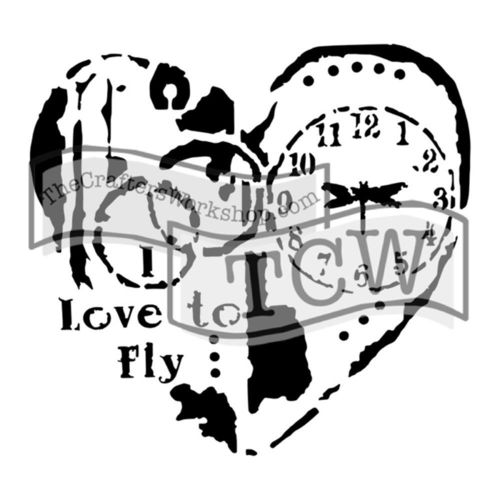 "Schablone Love to Fly 6"" x 6"""