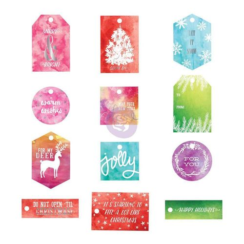 Sweet Peppermint Watercolor Resist Tags