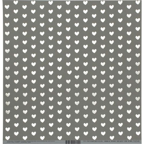 "Bazzill Foiled Pattern Cardstock 12""X12"" - Heart W/White, Rock Candy"