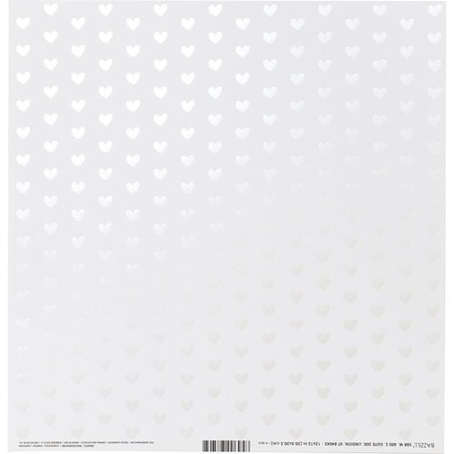 "Bazzill Foiled Pattern Cardstock 12""X12"" - Heart W/White Pearl, Marshmallow"
