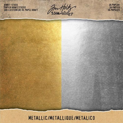 "Idea-Ology Kraft Stock Cardstock Pad 8""X8""  - Metallic Gold & Silver"