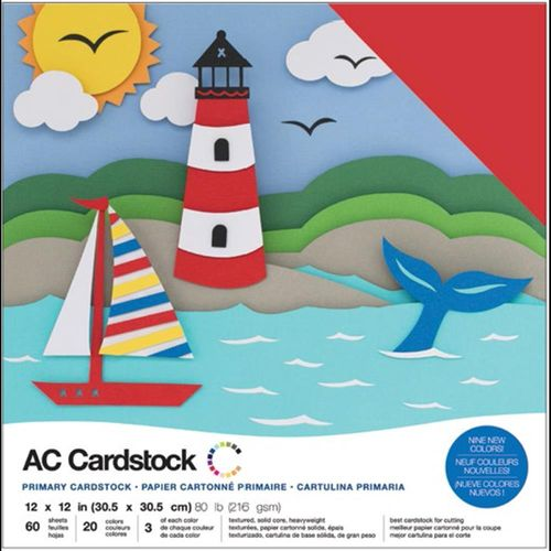 "American Crafts Cardstock Pack 12""X12"" - Primaries"