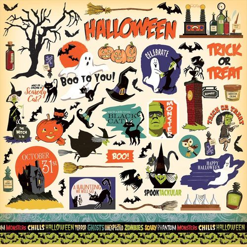 "Haunted House Cardstock Stickers 12""X12"""