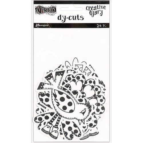 Dyan Reaveley's Dylusions Creative Dyary Die Cuts - Black & White Birds & Flowers