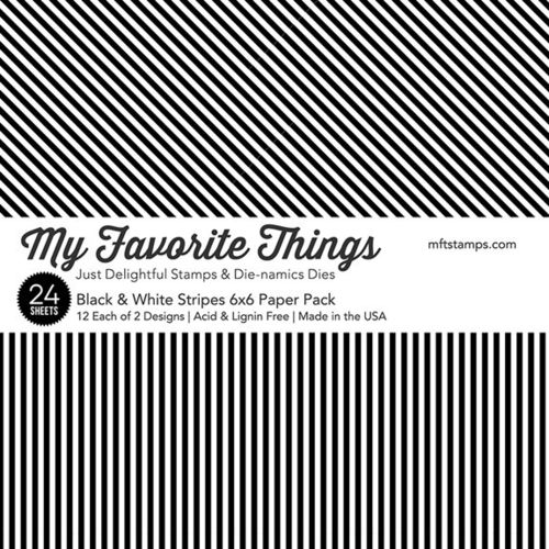 "Black & White Stripes Paper Pad 6""X6"""