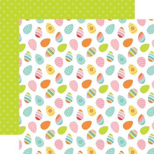 Papier Hello Easter - Multi-Color Eggs/Lime Green With Dots