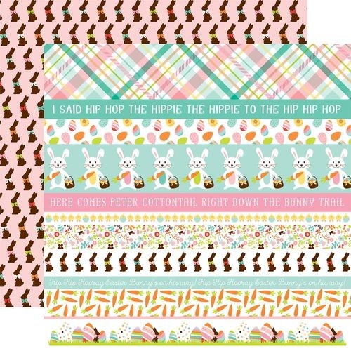 Papier Hello Easter - Border Strips/Brown Bunnies On Pink