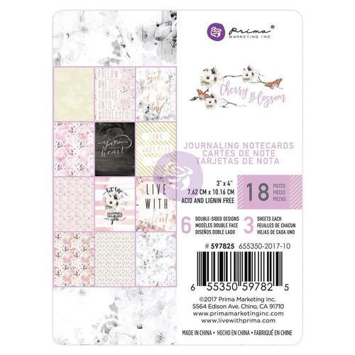 "Cherry Blossom Journaling Cards Pad 3""X4"""