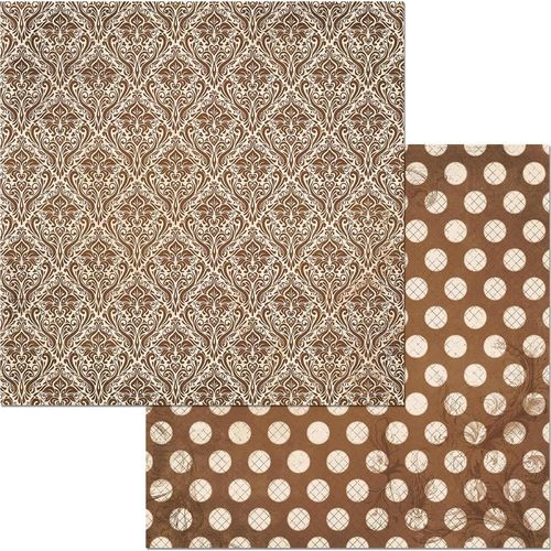 Cardstock Double Dot Damask - Chocolate