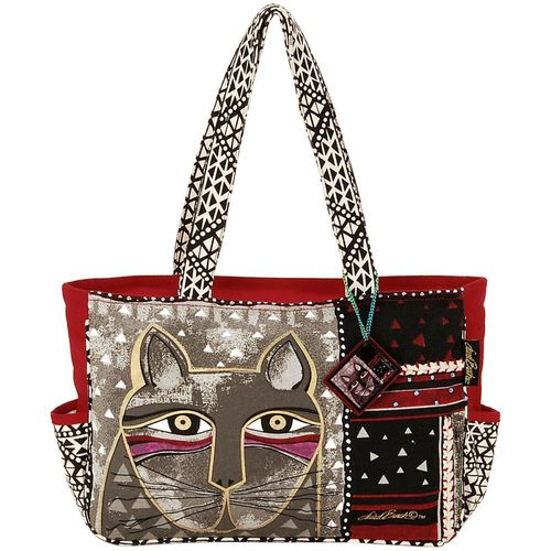 Laurel Burch Medium Tote Zipper Top  - Whiskered Cat