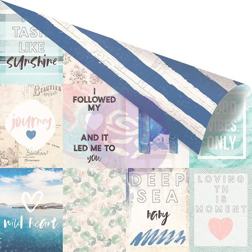 "Santorini Aqua Foiled Double-Sided Cardstock 12""x12"" - Santorini Moments"