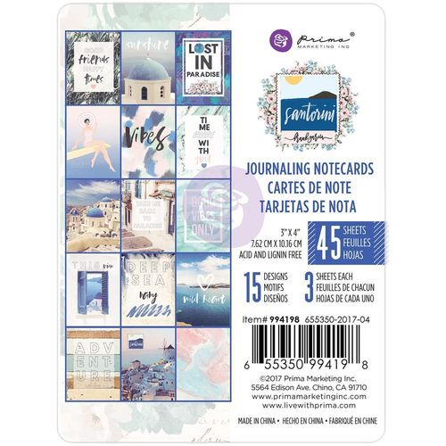 "Santorini Journaling Cards Pad 3""X4"""