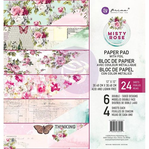 "Misty Rose Foiled Double-Sided Paper Pad 12""X12"""