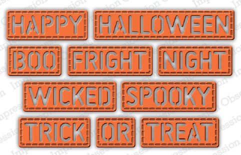 Stanzschablone Halloween Stitched Words