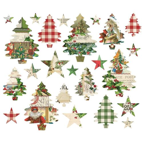 Simple Vintage Christmas Trees And Stars Die-Cuts
