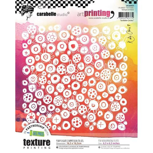 Art Printing Square Rubber Texture Plate - Scribble Circles