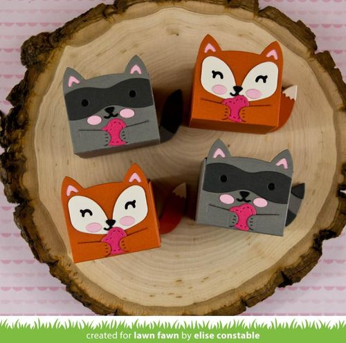 Stanzschablone - Tiny Gift Box Raccoon and Fox Add-On