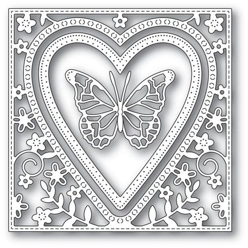 Stanzschablone Butterfly Heart Frame