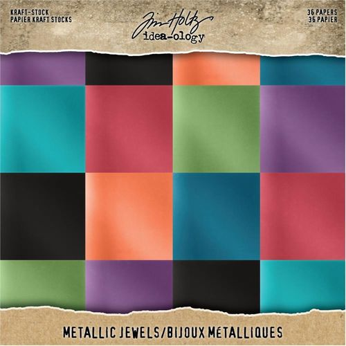 "Tim Holtz Paper Stash Kraft Metallic Paper Pad 8""X8"" - Jewels"