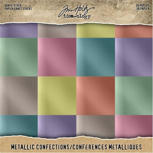 "Tim Holtz Paper Stash Kraft Metallic Paper Pad 8""X8"" - Confections"
