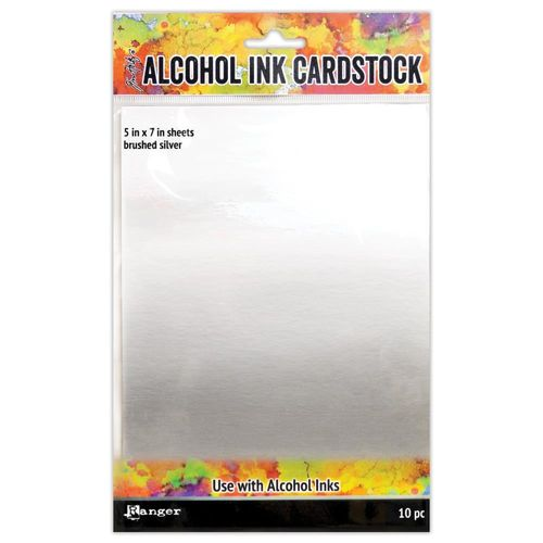 "Tim Holtz Alcohol Ink Cardstock 5""X7"" - Brushed Silver"