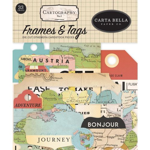 Cartography No. 1 - Ephemera Cardstock Die-Cuts - Frames & Tags