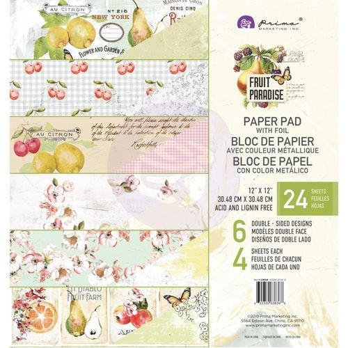 "Fruit Paradise Foiled Double-Sided Paper Pad 12""X12"""