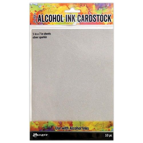 "Tim Holtz Alcohol Ink Cardstock 5""X7"" - Silver Sparkle"