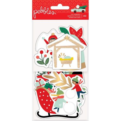 Merry Little Christmas Ephemera Cardstock Die-Cuts w/Gold Foil Accents