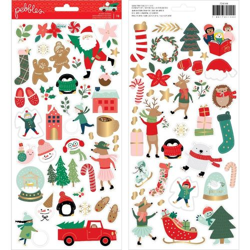 "Merry Little Christmas Cardstock Stickers 6""X12""  w/Gold Foil Accents"