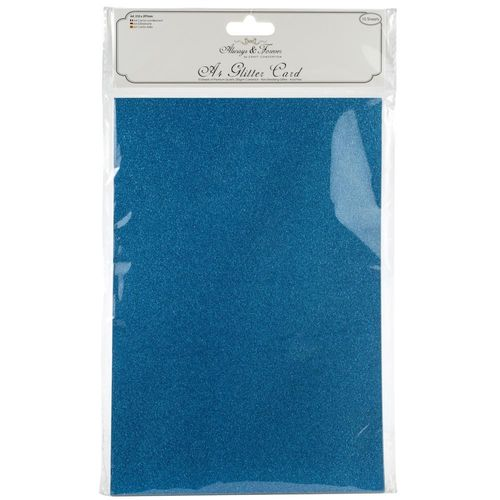 Always & Forever A4 Glitter Cardstock - Turquoise Blue