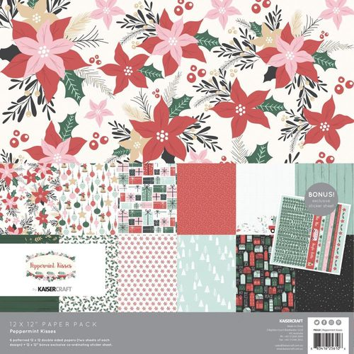 "Peppermint Kisses Paper Pack 12""x12"""