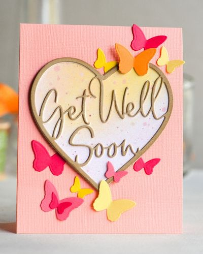 Stanzschablone Get Well Soon Loving Heart