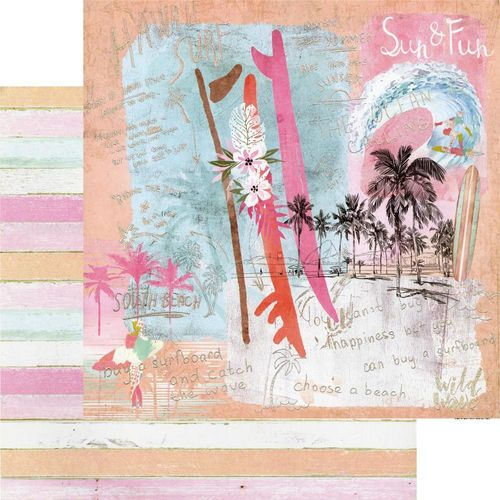 "Surfboard Double-Sided Cardstock 12""x12"" - Sun & Fun"
